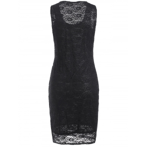 Openwork Lace Knee Length Sheath Dress -