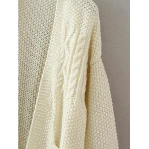 Textured Double Pockets Long Open Front Cardigan - OFF WHITE ONE SIZE