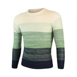 Knitting Ombre Round Neck Long Sleeve Sweater - GREEN 2XL