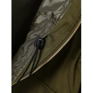 Twin Pockets Applique Drawstring Anorak Hooded Coat - ARMY GREEN 4XL