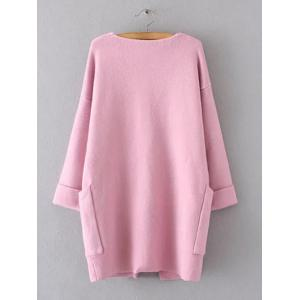 Hemming Sleeves Double Pockets Long Knit Cardigan - PINK ONE SIZE