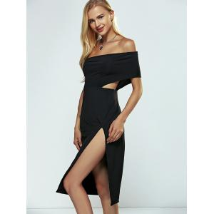 Off The Shoulder High Slit Slimming Dress - BLACK XL