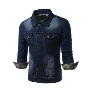Plus Size Camouflage Hemming Turn-Down Collar Single-Breasted Denim Jacket - DEEP BLUE 5XL
