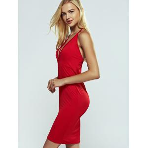Halter Strappy Open Back Cut Out Bodycon Dress - Rouge XL