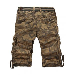Camo Zipper Fly Drawstring Hem Cargo Shorts -
