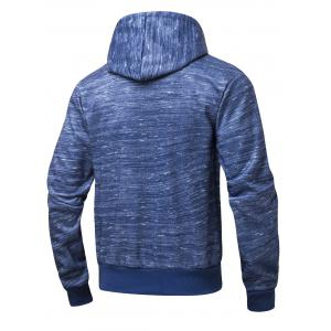 Zipper Pocket Design Marled Hoodie - BLUE XL