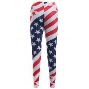 Elastic Waist Star Print Stripe Leggings - RED ONE SIZE