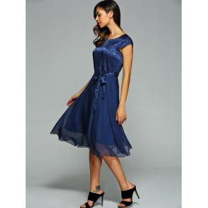 Elegant Jacquard Bowknot Dress For Women -