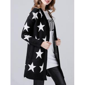 Collarless Star Print Knitted Cardigan -