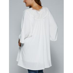 Plus Size Crochet Lace Splicing Loose-Fitting Blouse -