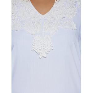 Plus Size Lace Splicing High Low Blouse -