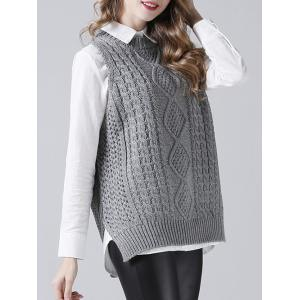 Textured Side Slit Knitted Tank Top - GRAY ONE SIZE