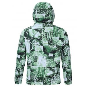 Hooded 3D Abstract Pattern Spliced Print Zip-Up Jacket - GREEN 2XL
