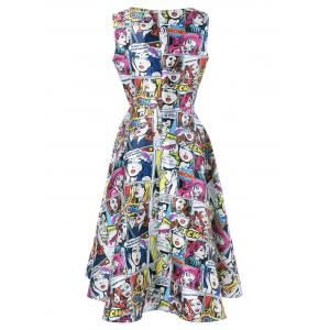 Cartoon Pattern Sleeveless Dress -