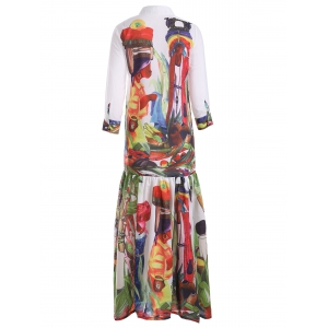Buttoned Abstract Print Spliced Dress -