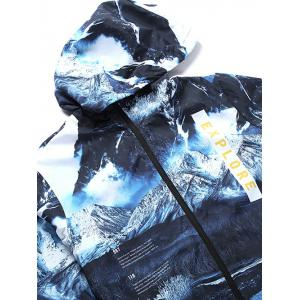 Hooded 3D Jokul and Letters Print Zip-Up Jacket - BLUE 2XL