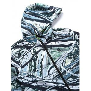 Hooded 3D Highway Print Zip-Up Jacket - COLORMIX M