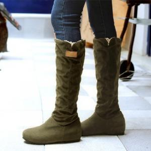 Suede Hidden Wedge Mid Calf Boots - ARMY GREEN 39