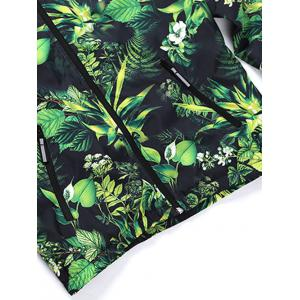 Hooded 3D Leaves and Flowers Print Zip-Up Jacket - GREEN 2XL