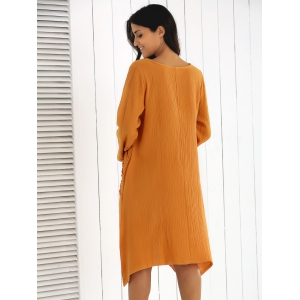 Long Sleeve Asymmetrical Ruffle Dress with Pockets -