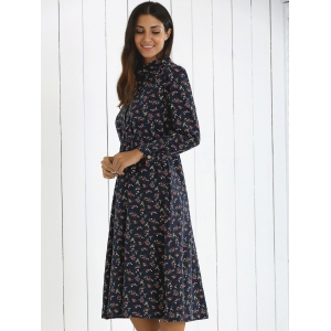 Button Fly Print Dress -