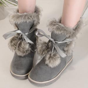 Lace Up Hairball Fuax Fur Flat Snow Boots - GRAY 39