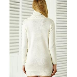 Roll Neck Ribbed Plain Mini Jumper Dress - WHITE ONE SIZE