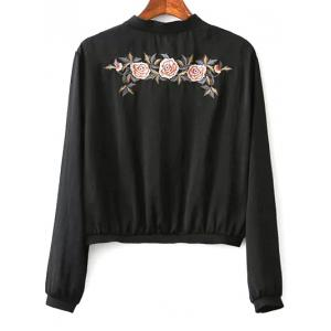 Stand Neck Floral Embroidered Zipper Sweatshirt -