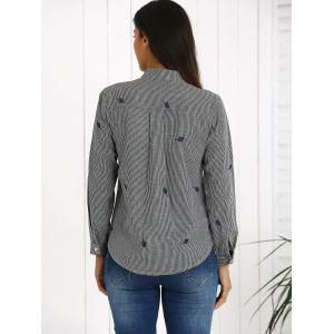 Long Sleeve Striped Shirt - DEEP GRAY XL