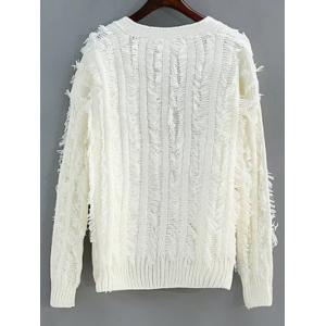 Collarless Fringes Cardigan -