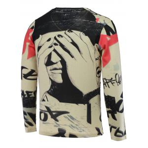 V-Neck 3D Figure Print Long Sleeve Sweater - COLORMIX 3XL