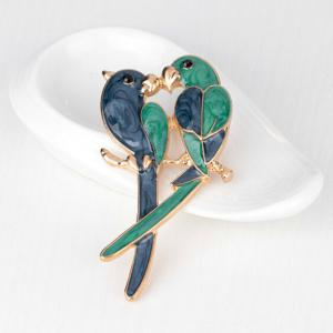 Enamel Kissing Birds Brooch - VERDIGRIS