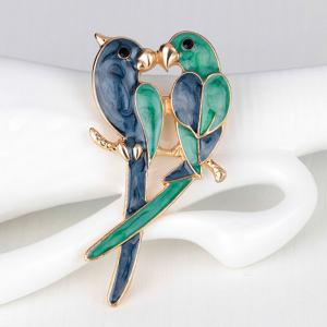 Enamel Kissing Birds Brooch -