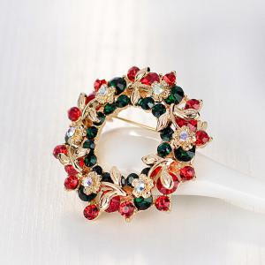 Flower Wreath Brooch - RED