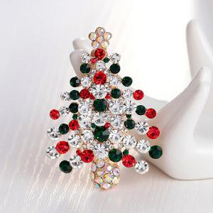 Zircon Christmas Tree Brooch - BLACKISH GREEN