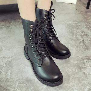 Metal Eyelet PU Leather Combat Boots -