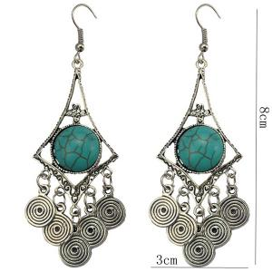 Faux Turquoise Spiral Earrings -