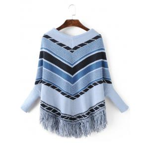Chervon  Loose Dolman Sleeve Fringe Sweater -