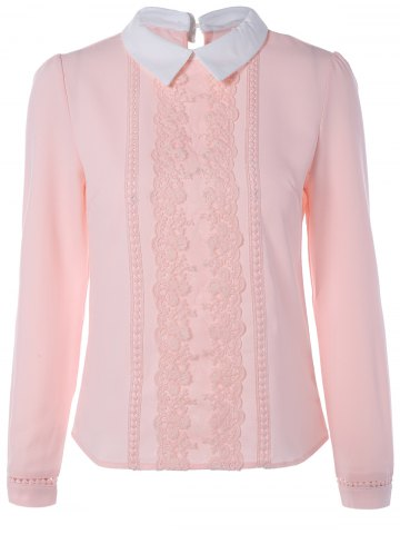 Long Sleeve Lace Floral Embroidered Chiffon Formal Shirt - Pink - S