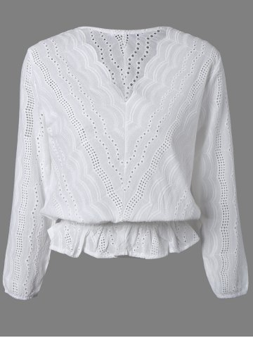 Outfits Hollow Out Wavy Pattern Slimming Blouse