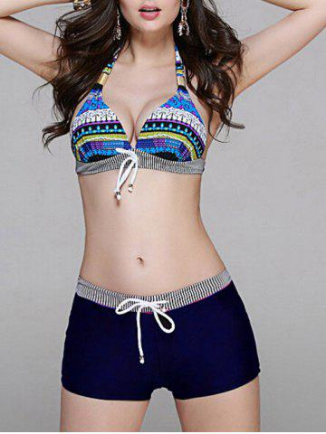Drawstring Printed Stripe Panel Bikini Set - Blue - M