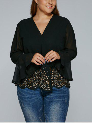 Outfit V Neck Rhinestone See-Through Blouse
