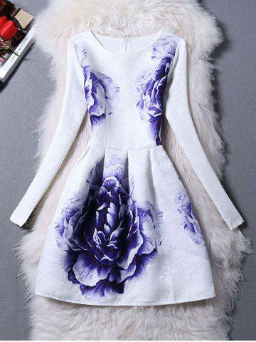 Outfits Long Sleeves Jacquard Floral A Line Dress
