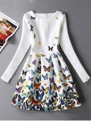 Jacquard Butterfly Skater Dress with Sleeves - White - S