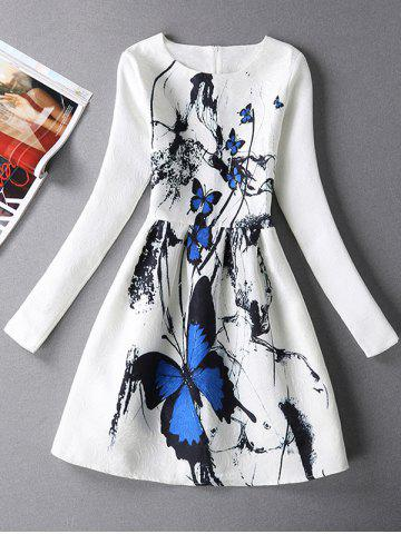 Long Sleeves Textured Dress with Butterfly Print - White - M