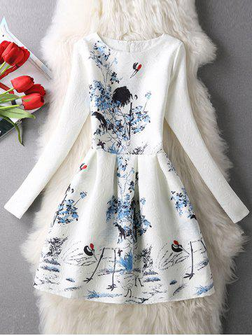 Cheap Long Sleeves Textured Floral Dress