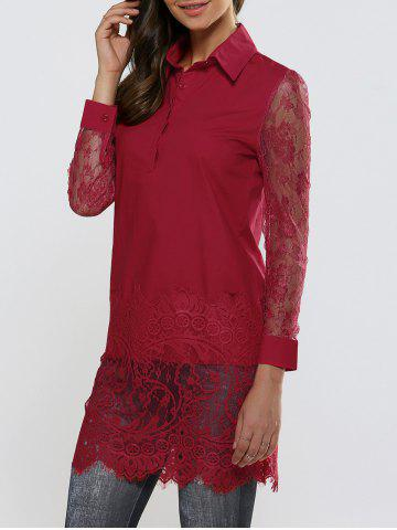 Store Sheer Lace Panel Long Sleeve Scalloped Shirt