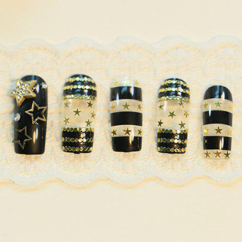 Fashion 24 PCS Sequin Pentagram Pattern Nail Art False Nails