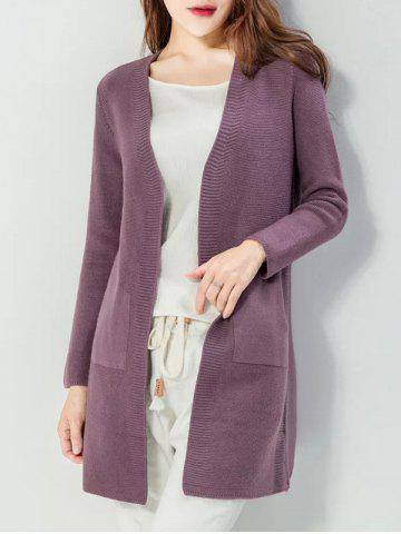 Collarless Ribbed Pocket Cardigan