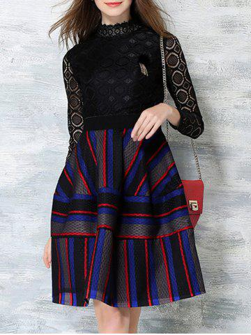 Fancy Color Block Stripe Long Sleeve Lace Dress